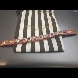 Henri Bendel Leather Braided Bracelet.  With Pouch